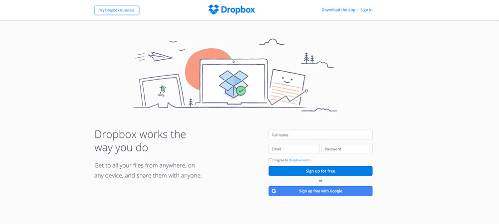 webb design trender 2017 - Illustration-Dropbox